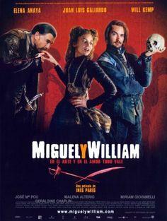 """""""Miguel y William"""": Leonor de Vibero, hija de un comerciante español instalado en Inglaterra, es una joven curiosa y apasionada por el teatro, pero debe regresar a Castilla para contraer matrimonio con un duque viudo y tan rico como poderoso. En Londres deja a un amante desolado, William Shakespeare, un prometedor autor de comedias. En España, conoce a Miguel de Cervantes, antiguo soldado y escritor que ha perdido la fe en su talento...  https://www.youtube.com/watch?v=DYiYgjdrGdM"""