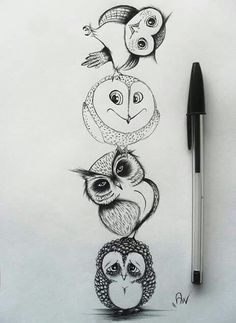 Ideas drawing animals owl illustrations for 2019 Animal Drawings, Pencil Drawings, Art Drawings, Drawing Animals, Kunst Tattoos, Body Art Tattoos, Owl Tattoo Design, Tattoo Owl, Owl Illustration