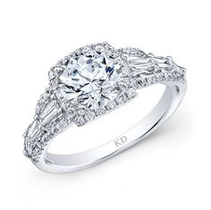 SIEMER JEWELERS KATTAN LRD06696 18K WHITE GOLD DIAMOND  HALO SEMI-MOUNT WITH 0.59 CARAT TOTAL WEIGHT