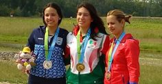 July 13 - Shooting - Women's 10m Air Rifle.  Argentina's Fernanda Russo - Silver.  Mexico's Goretti Zumaya - Gold.  Eglys de la Cruz - Bronze.
