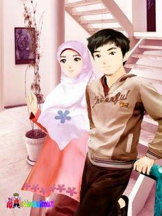 Muslimah Anime Manga Drawing Muslim Couples Love
