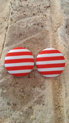 Red and White Stripe Fabric Button Earrings by LaVieBelle on Etsy, $5.00