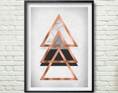 Faux Rose Gold Print Faux Copper Wall Art Geometric par PrintAvenue