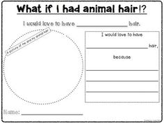 A cute writing template to go with the book: What if you had animal hair!? by Sandra Markle