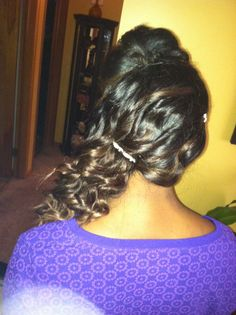 #prom #hair #style #stylist #curls #wand #sewin #extensions #ombre #cute #homecoming #hairstyles #diy #donebyme #cosmetology #updo