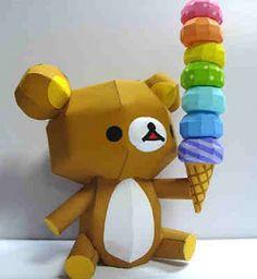 Papercraft Ice Cream Bear
