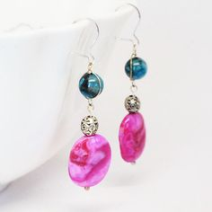 Pink Agate Earrings Hot Pink Wire Earrings by TorikaEnergetics, $17.00