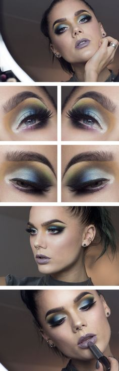 "Linda Hallberg makeup look - ""Colors"" - dramatic bright multicolored eyeshadow look and taupe lipstick. Very daring and unique."
