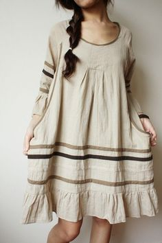 Linen beige bohemian dress, for the hippie in us all :) Look Boho, Bohemian Style, Boho Chic, Boho Fashion, Vintage Fashion, Womens Fashion, Fashion Shoes, Pretty Dresses, Beautiful Dresses