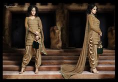 IMMORTAL3029;- Patiala Suit In Complete Beige Colour Story.Monotone Thread Embroidery On Lop With Lurex Lycra Sleeves.Patiala In Half Coading Jerey Fabric. Coffee Chiffon Dupatta Highlighted With Embroidered Borders All Round