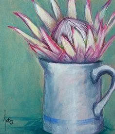 Protea in Jug – South Africa – Home Recipe Protea Art, Protea Flower, South African Artists, King Art, Diy Canvas Art, Bottle Painting, Bible Art, Abstract Flowers, Types Of Art