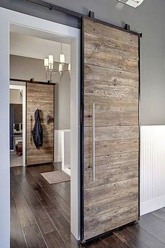 Sliding barn door design ideas for your home with mirror, window. Interior and exterior sliding barn door for your bathroom, bedroom, closet, living room. House Design, Door Design, House, Home Projects, Modern House, Sliding Doors Interior, House Styles, New Homes, House Interior