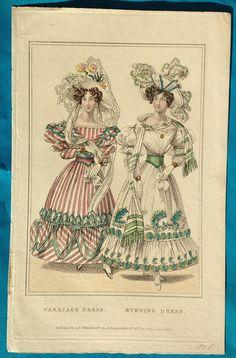 Antique 1828 Regency Belle Assemblee fashion print candy