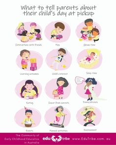 What to tell parents about their child's day at pick-up time - EduTribe Engage In Learning, Early Learning, Curriculum Template, Learning Stories, Nappy Change, New Friendship, Funny Phrases, Child Day, Early Childhood Education