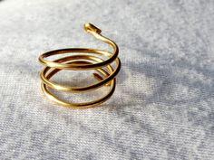 Triplewrap Gold Midi Ring by HeartWiredDesigns on Etsy