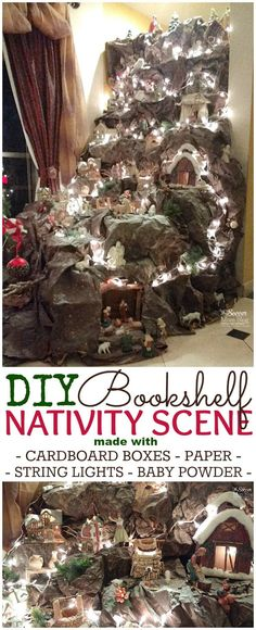 Gothic Home Decor This DIY nativity scene is absolutely stunning and so easy to recreate at home with simple up-cycled materials and a bookshelf! This year, decorate your home with a beautiful nativity scene! Make this DIY Christmas decoration today! Christmas Village Display, Christmas Nativity Scene, Christmas Villages, Christmas Ornaments, Nativity Scenes, Felt Ornaments, Christmas Crib Ideas, Christmas Holidays, Merry Christmas