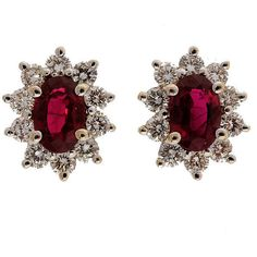 Preowned Ruby And Diamond Cluster White Gold Earrings ($3,145) ❤ liked on Polyvore featuring jewelry, earrings, accessories, jewels, white, diamond cluster earrings, ruby earrings, white earrings, 14 karat gold earrings and white gold earrings