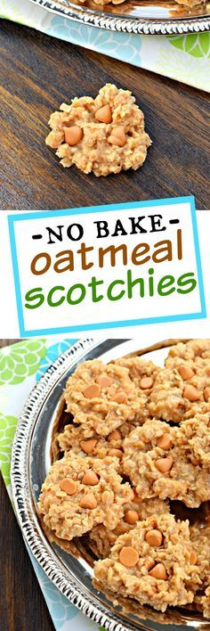 No Bake Oatmeal Scotchies cookie recipe: your favorite classic butterscotch oatm. No Bake Oatmeal Scotchies cookie recipe: your favorite classic butterscotch oatmeal cookie in a delicious no bake dessert! Oatmeal Scotchies, No Bake Treats, No Bake Cookies, Yummy Cookies, Baking Cookies, Protein Cookies, Easy Cookie Recipes, Sweet Recipes, Plated Desserts