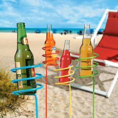 Say goodbye to sandy cans and accidental spills during you beach trip this summer. These metal stake drink holders offer a convenient place to put your drink as you lounge outdoors.