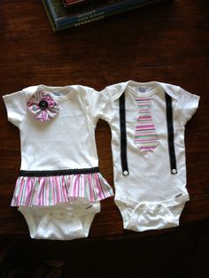 For the idea off of Pinterest, bought some onesies and made these cute matching outfits for my new twin grand babies. I pinned the links on to my \