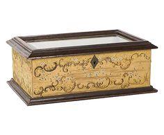 Cofanetto portaoggetti in vetro e legno dipinto - 26x17x10 cm