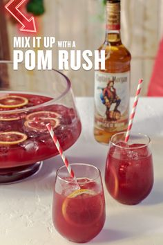 Give your rum drink recipes a fall spin with the Captain Morgan Pomegranate Rush, a cocktail that's even better in group settings than you are. HOW TO MAKE (Serves In a punch bowl filled with…More Christmas Drinks, Holiday Drinks, Party Drinks, Summer Drinks, Cocktail Drinks, Fun Drinks, Cocktail Recipes, Alcoholic Drinks, Beverages
