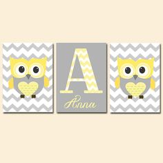 Owl Baby Girl Nursery Wall Art YELLOW GRAY Owl by TRMdesign