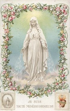 """allaboutmary: """" I am all merciful A vintage holy card of Our Lady of Pellevoisin, a French town where in 1876 a domestic servant named Estelle Faguette is believed to have experience a series of 15..."""