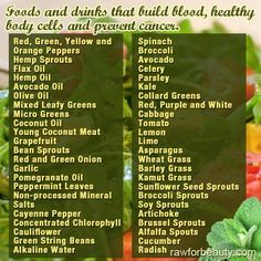 foods and drinks that build blood, healthy body cells and prevent cancer. - RAW FOR BEAUTY