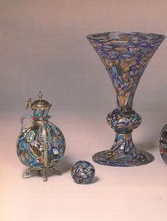A sixteenth century ewer, bead, goblet each exhibit the complexity of the millefiori technique (fig. 3). ... very nice.... like this idea.