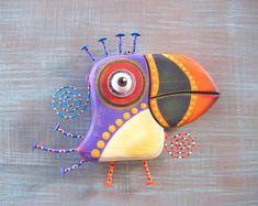 Purple Puffin, Bird Wall Art, Original Found Object Wall Sculpture, Wood Carving, Nature Art, by Fig Jam Studio