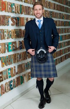 Traditional Highlandwear. Kilt Tartan Highland Storm with Tweed Jacket and Waistcoat // Highland Retail Collection Exclusive to Slaters // Men in Kilts