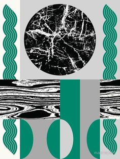 MARBLE MOON, black and green by Paul Allitt for mapmapart | Redbubble