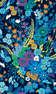 Vera Bradley Midnight Blues - My pattern! Design Textile, Textile Prints, Flower Wallpaper, Pattern Wallpaper, Spring Wallpaper, Trendy Wallpaper, Surface Pattern Design, Pattern Art, Textures Patterns