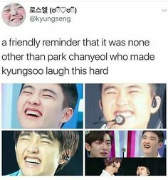 """"""" Kyungsoo whined, as Chanyeol forced the shorter to straddle him."""" Chanyeol asked, clear irritation written all over his face."""" Kyungsoo admitted, his face turning a bright pink colour. Baekhyun, Park Chanyeol, Drama Funny, Drama Memes, Funny Kpop Memes, Exo Memes, K Pop, Exo Facts, Chansoo"""
