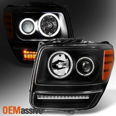 Black Projector Headlights Replacement L R Pair Set For 2007-2011 Dodge Nitro