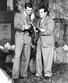 "Cary Grant and Frank Capra on set of ""Arsenic and Old lace""  cary grantFrank Capravintageold hollywood"