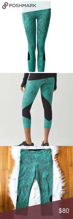 LULULEMON Pace Rival NEW Crop Pants Leggings 8 Gorgeous crop workout pants/leggings from Lululemon. Color: Jacquard spray Bali Blue. New without tags!! NWOT.  This versatile run crop has you covered from long runs to hill training. Luxtreme®- sweat-wicking, four-way stretch, and engineered not to shrink Added LYCRA® fibre for great shape retention stretch great shape retention long-lasting comfort Mesh Mesh fabric panels for extra ventilation breathable lightweight sweat-wicking lululemon…