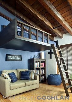 this is cool - loft bed, maybe for the boys rooms eventually!