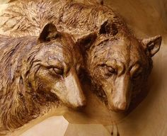 """Custom Made Deep Relief Carving """" Wolves"""""""