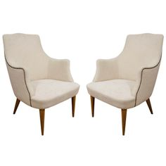 Well Formed Pair of Petite Club Chairs | From a unique collection of antique and modern club chairs at http://www.1stdibs.com/furniture/seating/club-chairs/