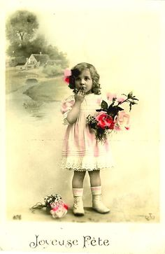 Vintage Postcard ~ Sweet Girl w/Pink Flowers   Flickr - Photo Sharing!