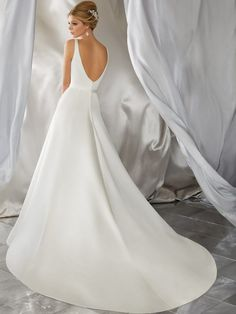 Voyage by Mori Lee 6862 Morena V-Neckline Sat A-Line Wedding Dress - Off White Bride - Wedding Gowns Western Wedding Dresses, V Neck Wedding Dress, Luxury Wedding Dress, Classic Wedding Dress, Backless Wedding, Bridal Wedding Dresses, Bridesmaid Dresses, Wedding White, Casual Wedding