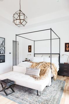 5 Tips for Creating A Master Bedroom He Will Love - Master bedroom design canopy beds fur throw gallery walls pendant light fixture in master bedroom master bedroom lighting master bedroom light Master Bedroom Design, Dream Bedroom, Home Decor Bedroom, Bedroom Furniture, Bedroom Ideas, Master Suite, Light Bedroom, Bedroom Designs, Diy Bedroom