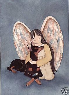 Doberman Pinscher (dobe) with angel / Lynch signed folk art print #folkart