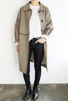 A trench coat, waffle knit top, skinny black jeans and Acne pointed-toe ankle boots #minimal #style #fashion