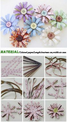DIY button flowers with ribbon, scrapbook, or wrapping paper