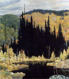 Autumn, Algoma (Art Nouveau) -Frank Johnston Canadian (group of seven) Tom Thomson, Emily Carr, Group Of Seven Art, Group Of Seven Paintings, Canadian Painters, Canadian Artists, Abstract Landscape, Landscape Paintings, Art Moderne
