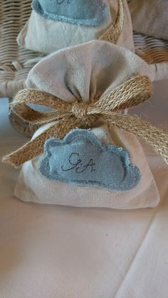 Linen pouch with personalised themed embroidery, filled with Italian sweets, can be recycled as a gift or drawer freshener