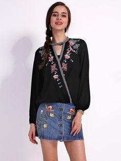 Sale 23% (25.83$) - Plus Size Vintage Women Floral Embroidery Lantern Sleeve Loose Shirt